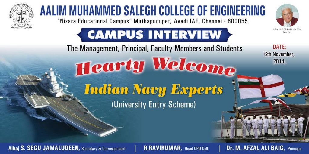 Indian Navy Campus Interview To Aalimec