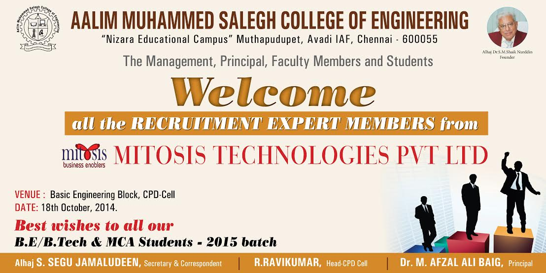 Mitosis Technologies Recruitment – Aalim Muhammed Salegh College of
