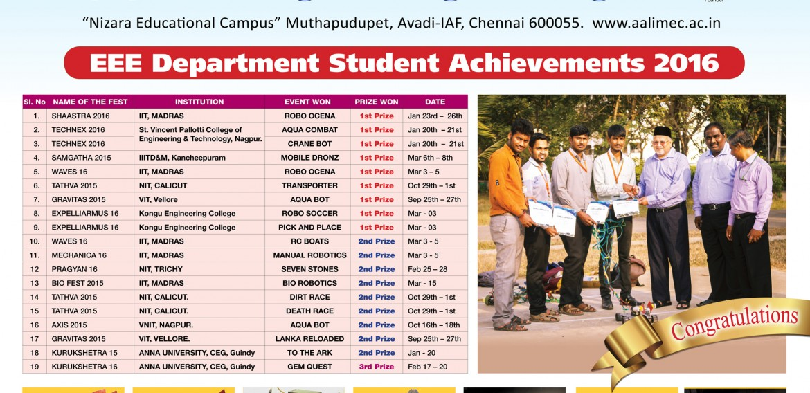 EEE Department Achievement 2016