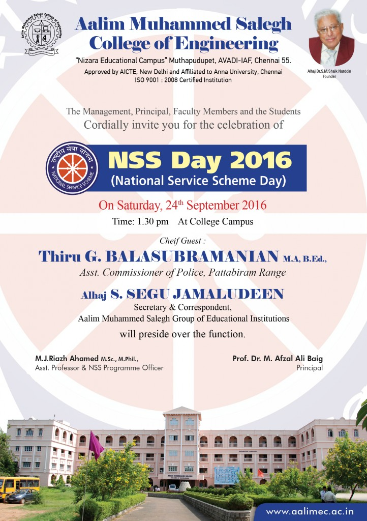 NSS Day 2016 Aalim Muhammed Salegh College of Engineering