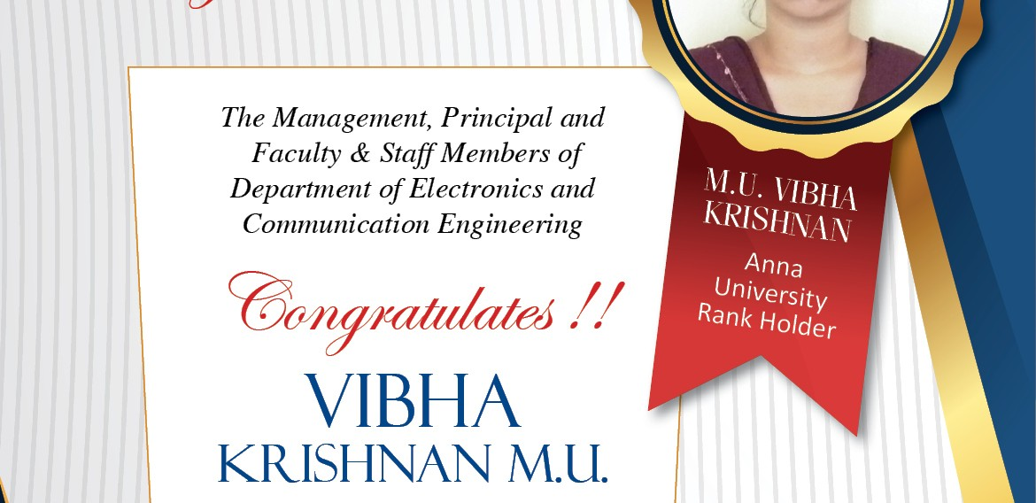 Anna University Rank Holder 2012-2016 Batch
