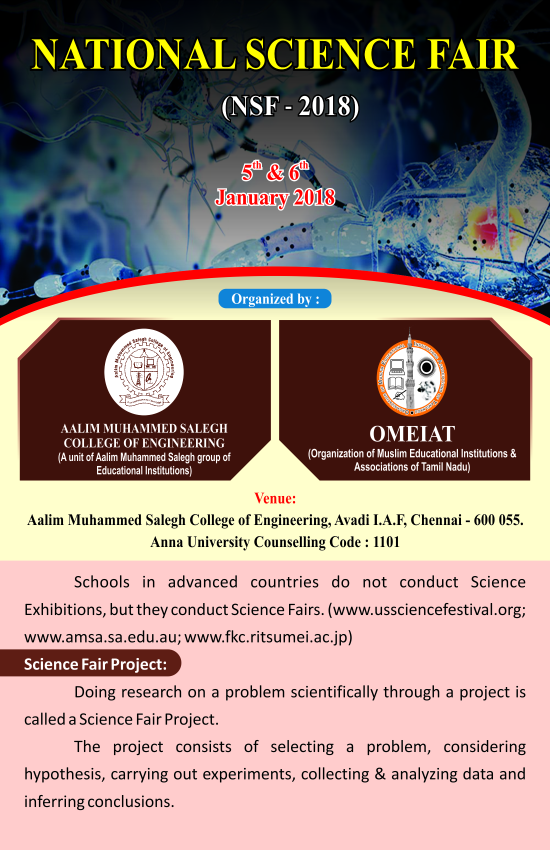 National Science Fair (NSF – 2018) – Aalim Muhammed Salegh