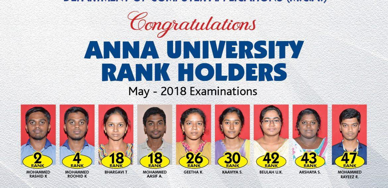 Anna University Rank Holders MCA – 2018