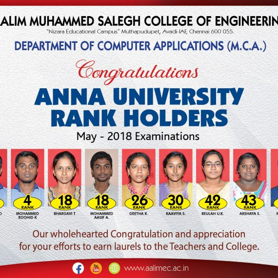 Anna University Rank Holders MCA – 2018