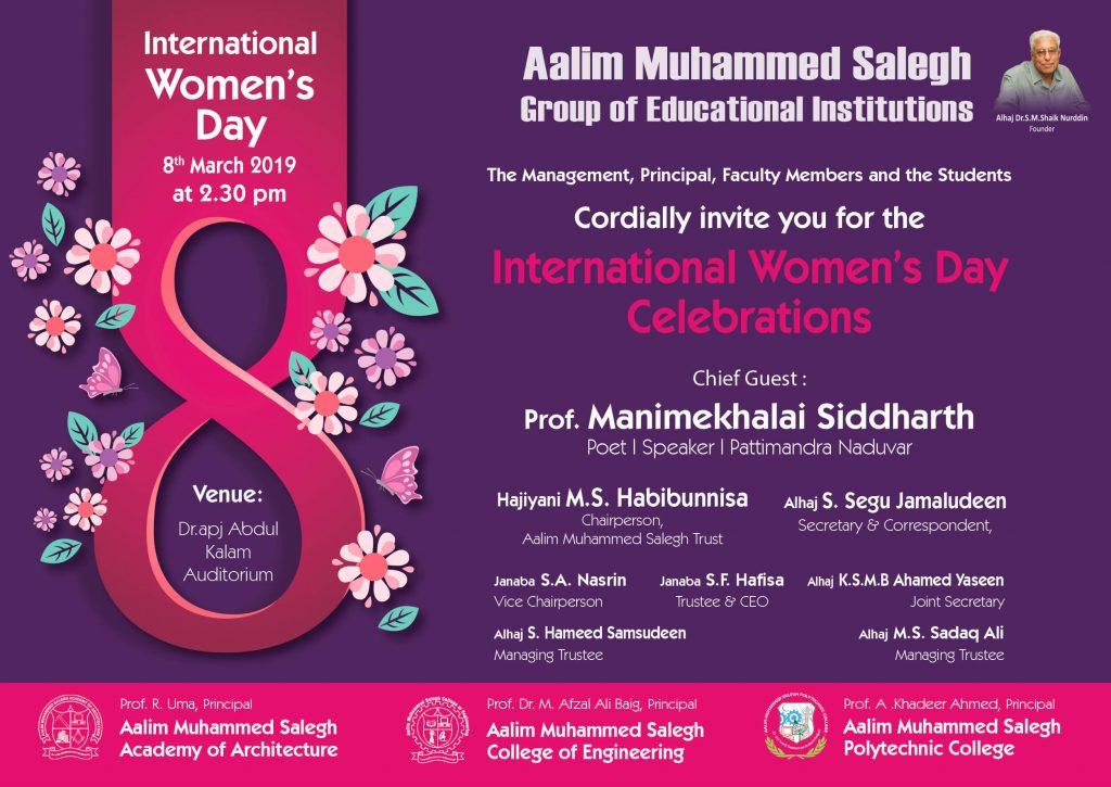 International Women's Day – Aalim Muhammed Salegh College of Engineering